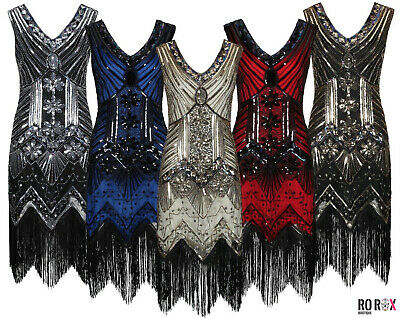 Ro Rox 1920's Great Gatsby Costume Evening Party Sequin Tassel Flapper Dress