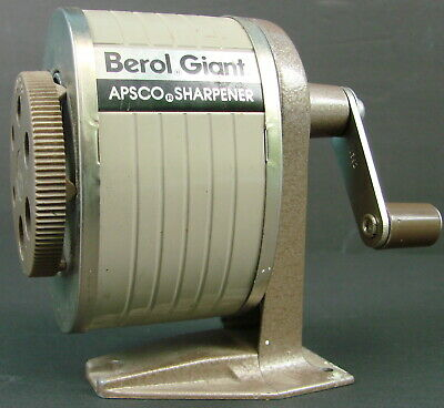 Early Vintage Berol Giant APSCO 6 Sized Metal Mountable Pencil Sharpener USA