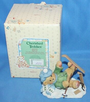Cherished Teddies Spencer I'm Head Over Skis For Figurine # 269743 1997  Enesco