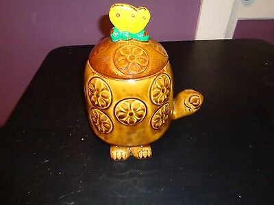 Vintage #271 Nelson Mccoy Art Pottery Usa Tommy Turtle Cookie Jar Butterfly Top