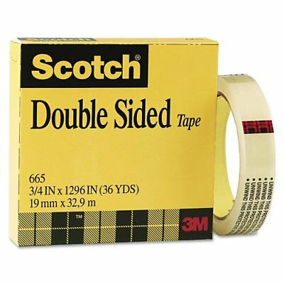 "3M Commercial Office Supply Div.Double-Sided Tape, 3""Core, 3/4""x36Yards, Clear"