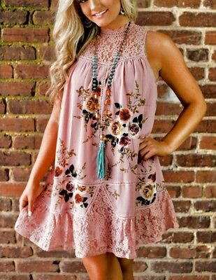 a9eb6b69329 Size Large Entro Lace Trim Dusty Pink Floral Dress Sleeveless Boho NWT New L