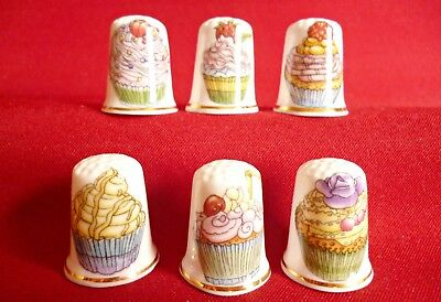 Set of 6 Cupcake  (Gold Gilded) Collectors Thimbles