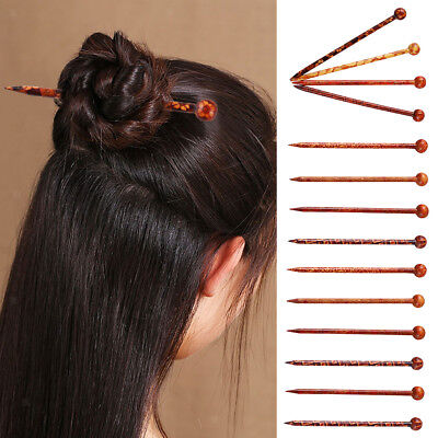 14Pcs Traditional Print Wood Wooden Hair Pin Stick Chinese Style Hair Sticks