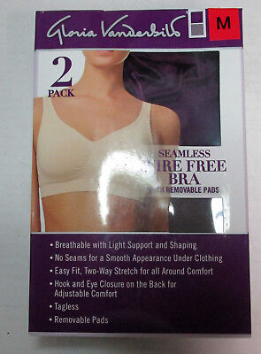 53f881e6dc Gloria Vanderbilt Seamless Wire Free Bra with Removable Pads- 2 Pack Medium
