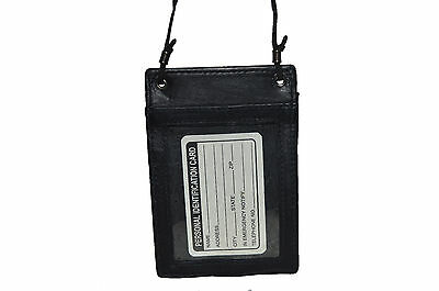 Id Passport Neck Holder Very Secure Great For Traveling  New Black Gift Idea