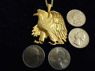 bling gold plated ICON military eagle pendant charm fashion necklace JEWELRY gp