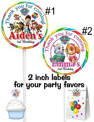 20 Paw Patrol Birthday Party Favors Lollipop Party Favors Stickers Labels 2""