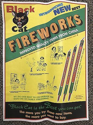 "RARE Vintage Li & Fung BLACK CAT Roman Candle Fireworks POSTER 23"" firecrackers"