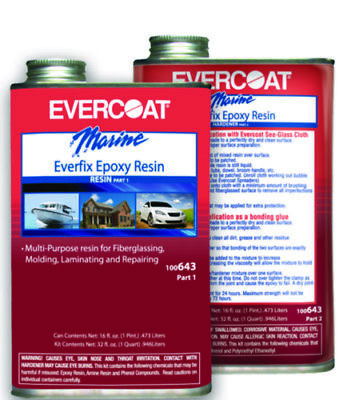 Evercoat Boat Marine Everfix Epoxy Quart Kit Includes Quart of Part 1 & Part 2