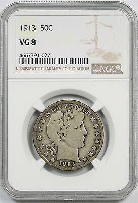 1913 50C NGC VG 8 (Better Date) Barber Half Dollar