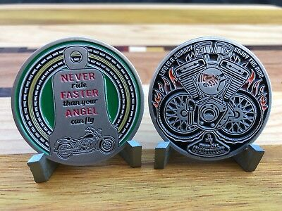 Motorcycle Challenge Coin - Never Ride Faster Than Your Angel Can Fly