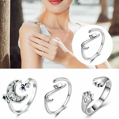 Fashion Women Silver Plated Jewelry Lovely Cat Open Finger Ring Adjustable Size