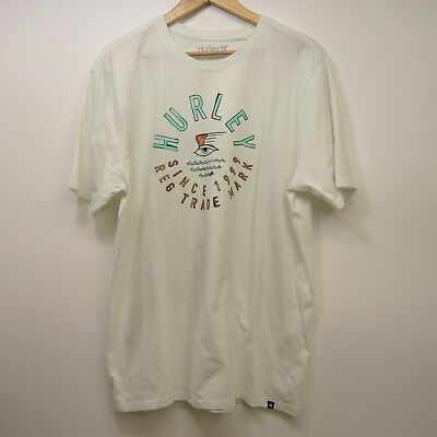 6b1eaff9 New Mens Hurley Classic Fit Cream Eye Waves Graphic Tee T-Shirt Size Size  Large