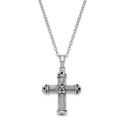 Sterling Silver Antiqued Cross Ash Holder 18in Necklace QSX541