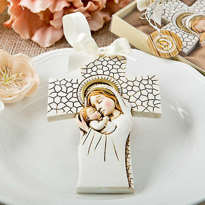 12-72 Madonna and Christ Child Hanging Cross Ornament - Baptism Religious Favor