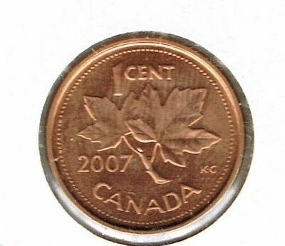 2007 Canadian Brilliant Uncirculated One Cent Elizabeth II Coin!