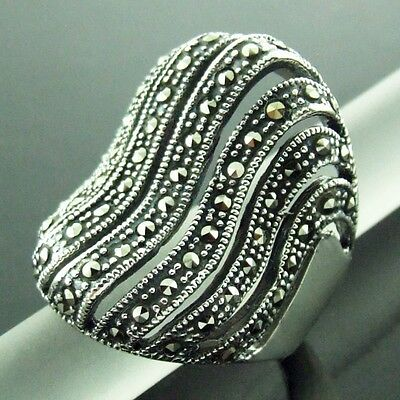 Ring Genuine Hallmarked Real 925 Solid Sterling Silver Ladies Marcasite Design 8