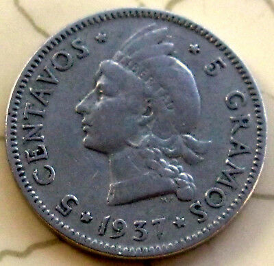 Coin Dominican Rep 5C 1937 Xf 69