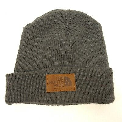 New The North Face Salty Dawg Beanie Regular Gray Warm Winter Hat Leather Tag