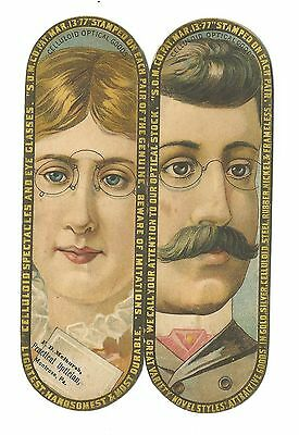 Trade Card DIE CUT Spencer Optical Mfg NY Melhurah Optician Montrose PA Glasses