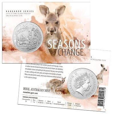 2019 Australia One Dollar Silver Kangaroo Frosted UNC Carded Coin - RAM