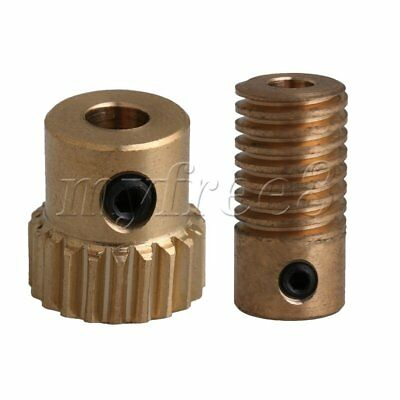 0.5 Modulus Brass Worm Wheel & Worm Gear Shaft Set with 4mm Inner Diameter