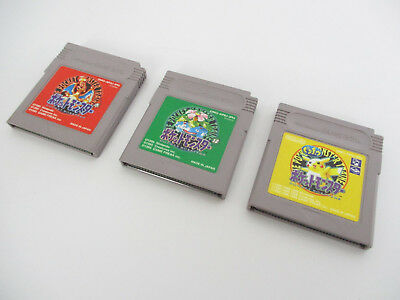 Game Boy Lot Of 3 Pokemon Rosso Verde Pikachu Set Nintendo Gb Videogioco Cart