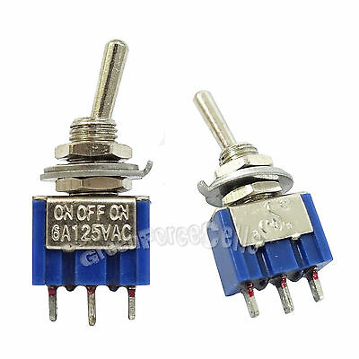 5 pcs 3 Pin SPDT ON-OFF-ON 3 Position 6A 250VAC Mini Toggle Switches MTS-103