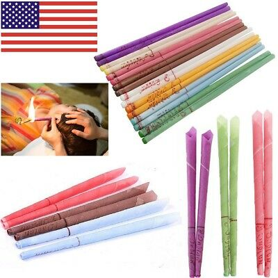 2/10Pc Earwax Candles Hollow Blend Cones Beeswax Cleaning of Ear Thai Massage US