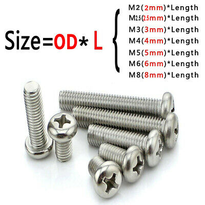 M2 M2.5 M3 M4 M5 M6 M8 Stainless Steel Cross Phillips Round Screw Pan Head Bolt