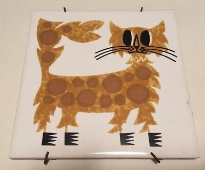 Rare Kenneth Townsend Cat Tile Menagerie Series - 1970s