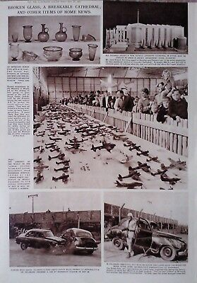 1962 Print Model Of Aircraft Of The World-Roman Glass-Sugar Coventry Cathedral