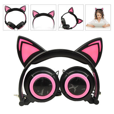 Kids Headphones Wired Over Ear Headphones with Cat Ears Noise Cancelling 3.5mm
