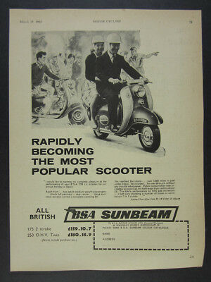 1961 BSA Sunbeam 250 Scooter vintage print Ad