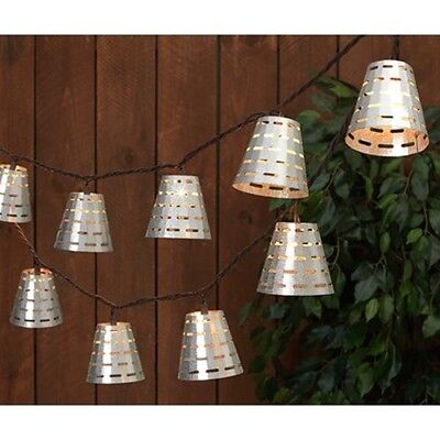 New Industrial Farmhouse Rustic Antique Style OLIVE BUCKET LIGHT STRAND Set 10