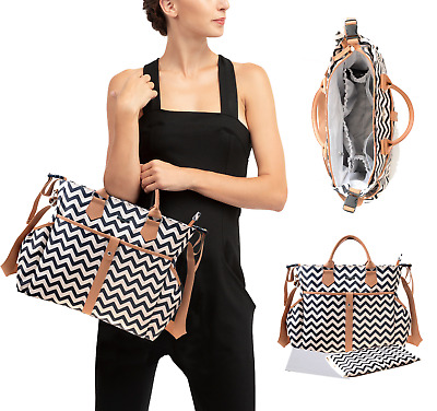 Baby Changing Bag Large Luxury Travel Bag with Changing Mat - Black Zig Zag