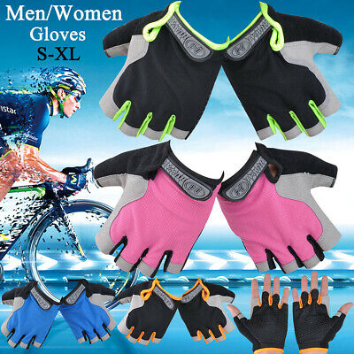 Mens Womens Anti-slip Cycling Gloves Sports Bicycle Mountaineering Fingerless UK