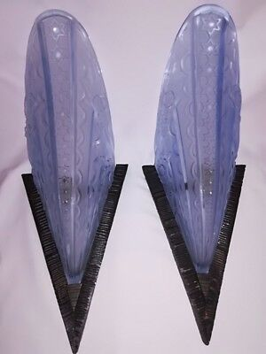 SUPERB French Art Deco Stylized Fer Forge 2 Blue Glass Sconces