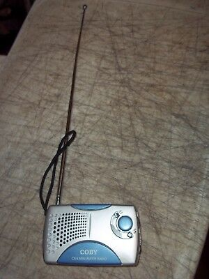 Coby Cx-5 Mini Am Fm Portable Radio With Extension Antenna And Wrist Strap Works
