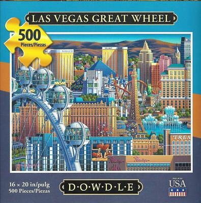 DOWDLE FOLK ART COLLECTORS JIGSAW PUZZLE LAS VEGAS GREAT WHEEL 500 PCS #00334