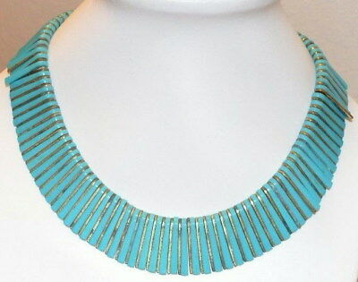 Vintage Egyptian Revival Turquoise Plastic Wide Collar Bib Necklace Celluloid