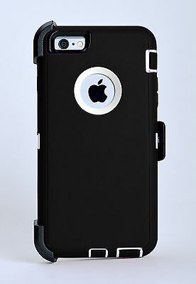 iPhone 6 & iPhone 6s Case w/Holster Belt Clip Fits Otterbox Defender Black White