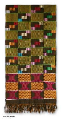 Authentic Kente Cloth Scarf Loomed Cotton African Art NOVICA