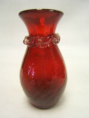 "Vintage Hand Blown Ruby Red Glass Bud Vase 4"" tall Free Ship VGC"