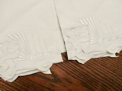 2  Huck Linen Hand/ Guest Towels Runners White on White Embroidery Cutwork