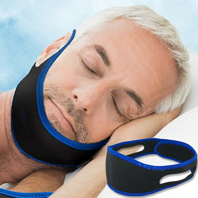 Adjustable Apnea Jaw Support Anti Snoring Chin Strap Belt Stop Snore Device Blue