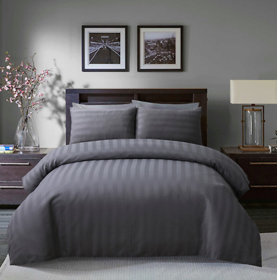 Satin Stripe Duvet Cover Set 250 Thread Count Poly Cotton Hotel Quality Bedding