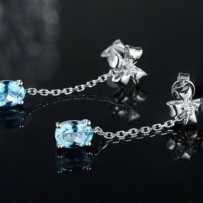 Women Lady Imitation Gemstone Bow-plated  Copper Zircon Earrings LD