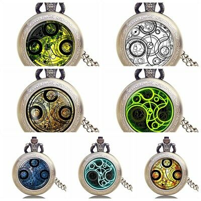 Antique Pattern Full Hunter Doctor Who Pocket Watch Necklace Chain 80cm Gifts